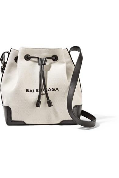 5341d7af5 Balenciaga | Bucket leather-trimmed canvas shoulder bag | NET-A ...