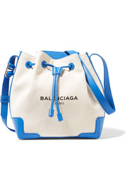 Balenciaga Leather-trimmed canvas bucket bag