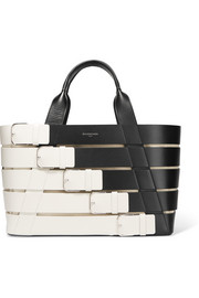 Stripes Cabas small paneled leather tote