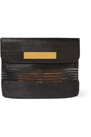 Cable mesh-paneled glossed raffia-effect clutch