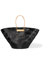 Cable leather-trimmed glossed raffia-effect tote