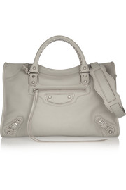Classic Metallic Edge City textured-leather tote