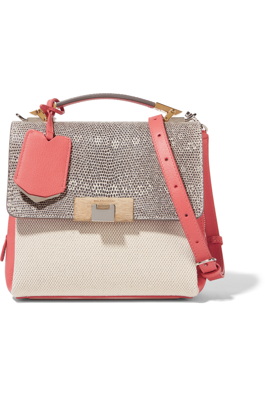 Balenciaga Le Dix Mini Snake-Effect Leather and Canvas Shoulder Bag, Off-White/Pink, Women's