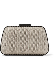 Minaudière Box leather-trimmed woven raffia clutch