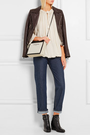 Leather-trimmed canvas clutch