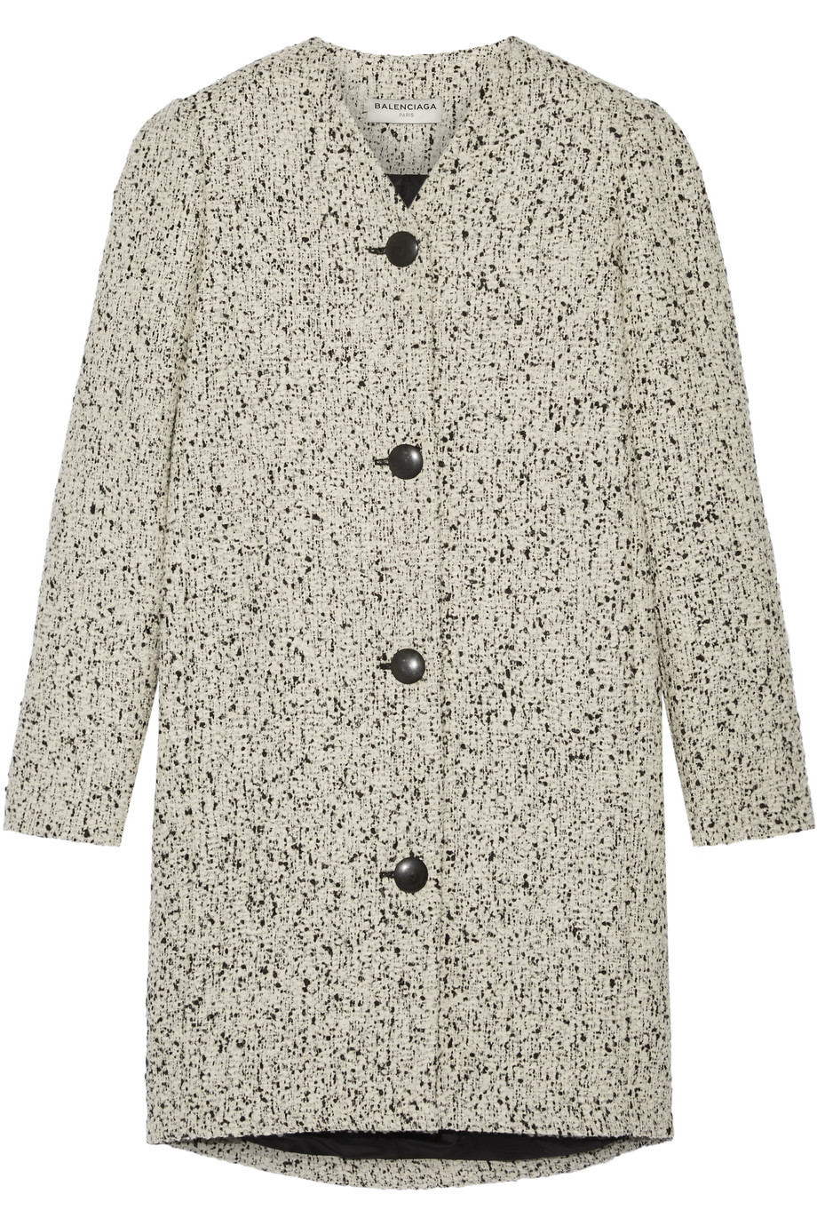 Balenciaga Wool-Blend Bouclé-Tweed Coat, Ecru, Women's, Size: 36