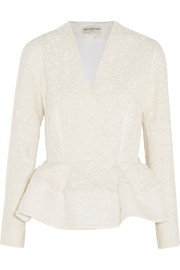 Flocked jacquard peplum jacket