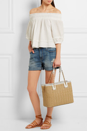 MICHAEL Michael Kors Rosalie large leather-trimmed raffia shoulder bag
