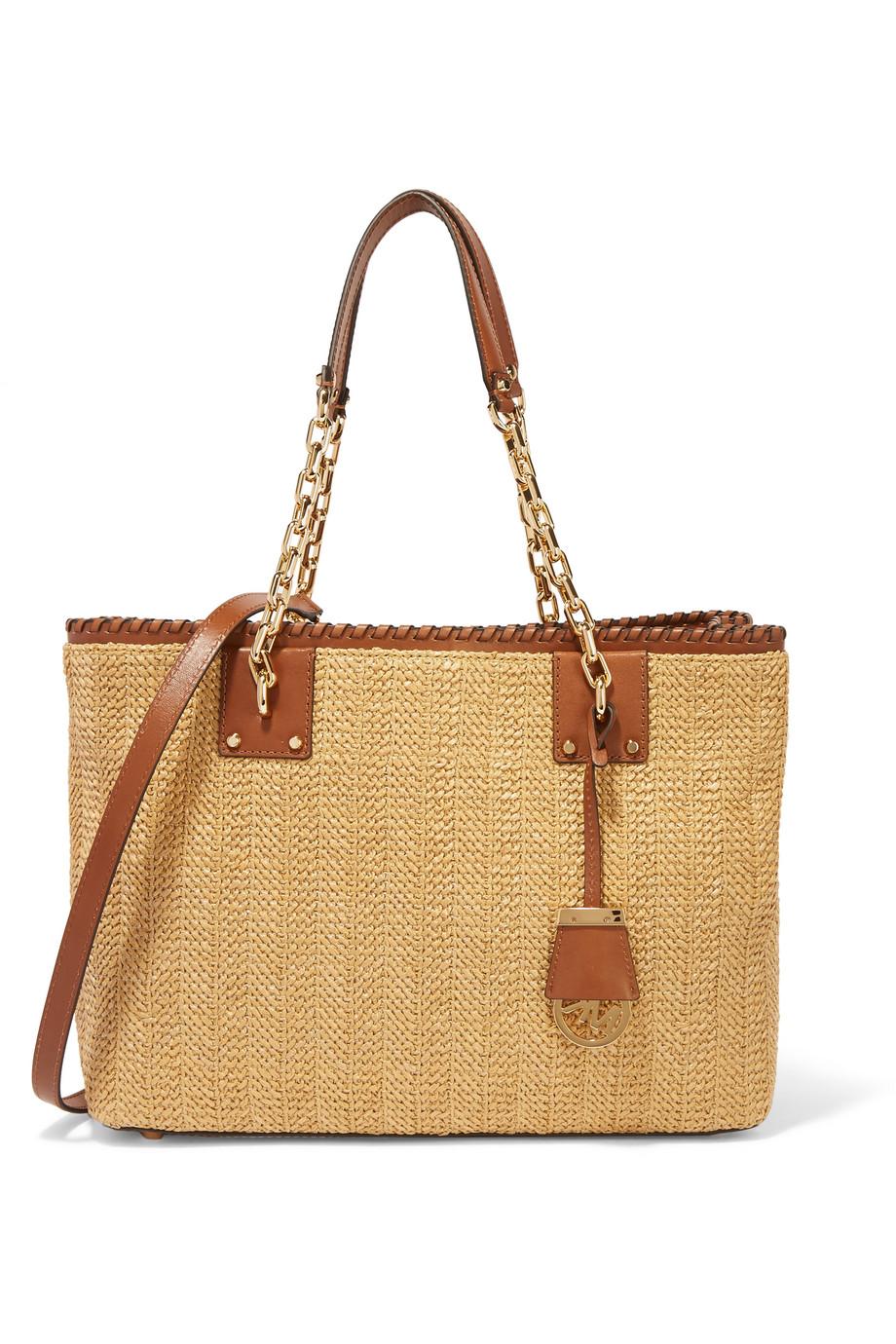 Rosalie Large Leather-Trimmed Raffia Shoulder Bag, Michael Michael Kors, Brown/Sand, Women's