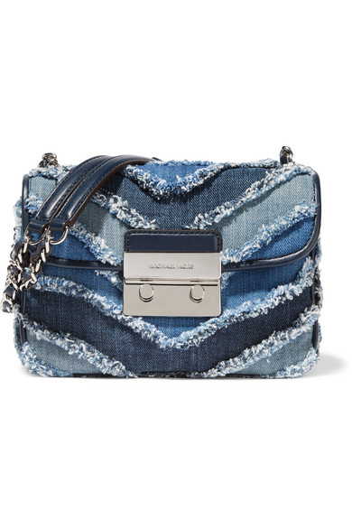 Michael Michael Kors Sloan Small Frayed Denim Shoulder