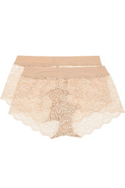 Double Take set of two stretch-lace boy shorts