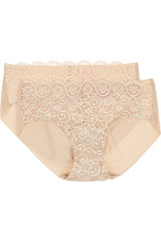 Double Take set of two lace-paneled stretch briefs
