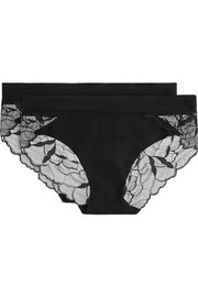 Love And Lust set of two lace-paneled stretch briefs