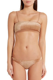 Ines stretch-velvet soft-cup bandeau bra