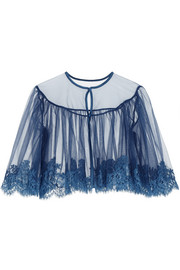 Jamais le Premier Soir Chantilly lace-trimmed stretch-tulle bed jacket