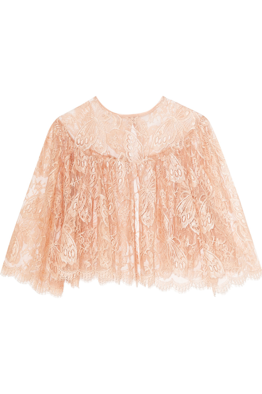 I.D. Sarrieri Passiflora Chantilly Lace and Tulle Bed Jacket, Peach, Women's, Size: XS