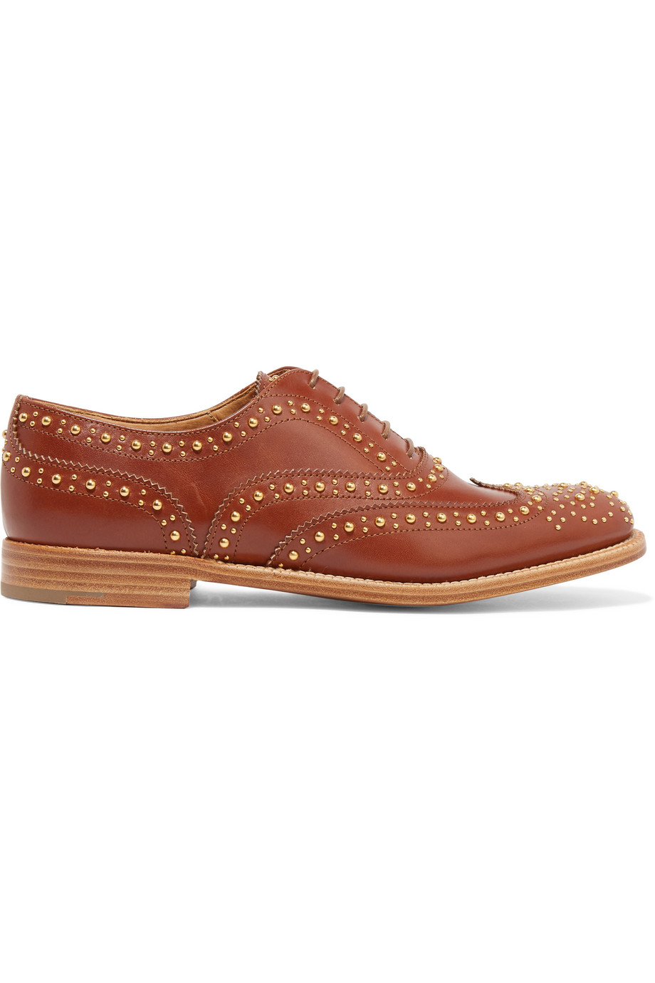 Church's The Burwood Met Studded Leather Brogues, Tan, Women's US Size: 4.5, Size: 35