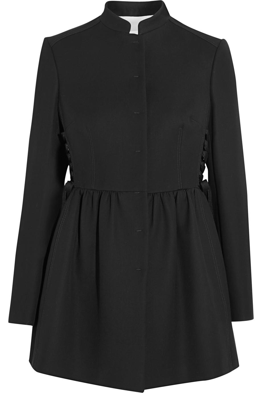 Redvalentino Lace-Up Cotton-Blend Cady Coat, Black, Women's, Size: 38
