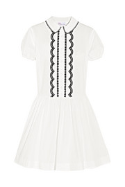 Embroidered cotton-poplin mini dress