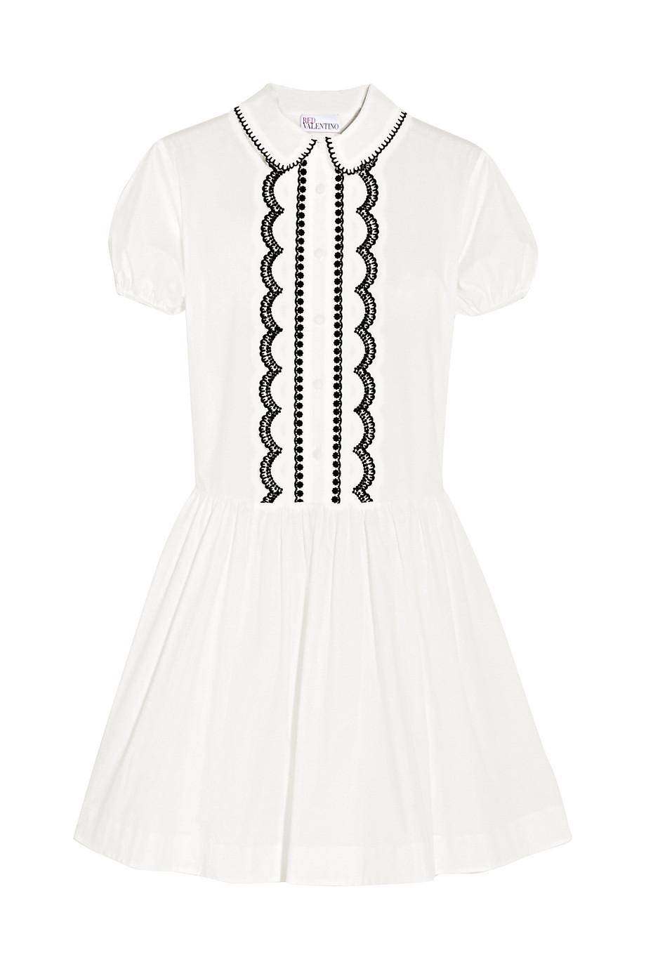 Redvalentino Embroidered Cotton-Poplin Mini Dress, White, Women's - Embroidered, Size: 40