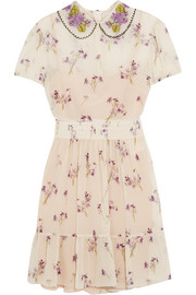 Floral-print crinkled silk-chiffon mini dress