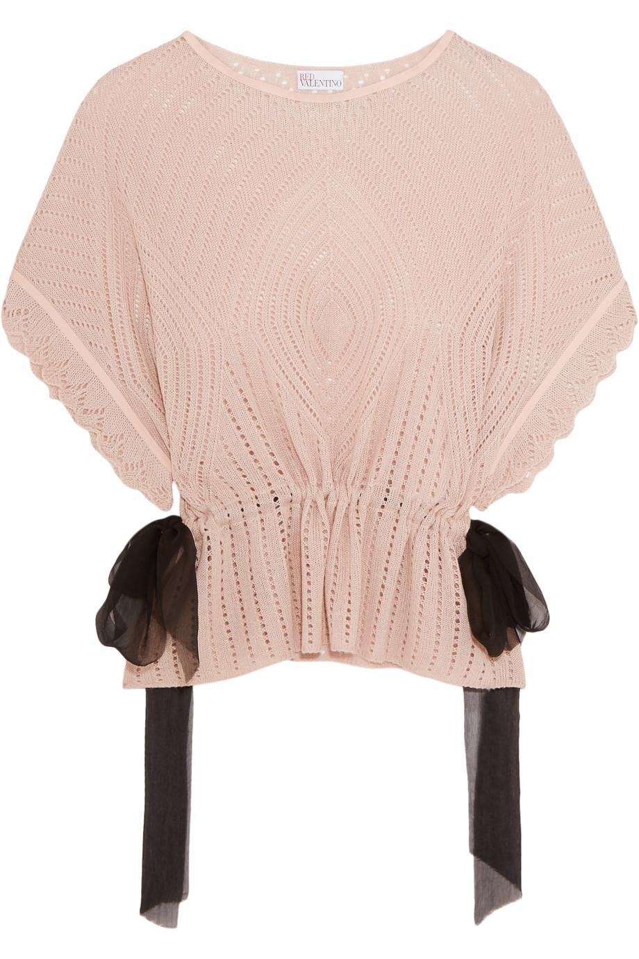 Redvalentino Crochet-Knit Sweater, Blush, Women's, Size: L