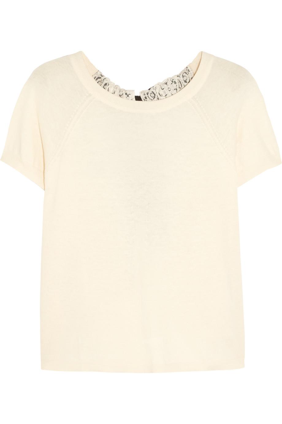 Redvalentino Chantilly Lace-Paneled Cotton and Modal-Blend Sweater, Cream, Women's, Size: XXS