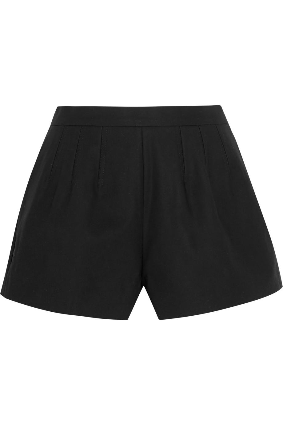 Redvalentino Cotton-Blend Canvas Shorts, Black, Women's, Size: 46