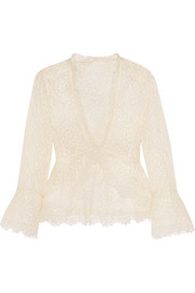 Ruffled cotton-blend Chantilly lace blouse