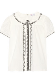 Embroidered cotton-poplin top