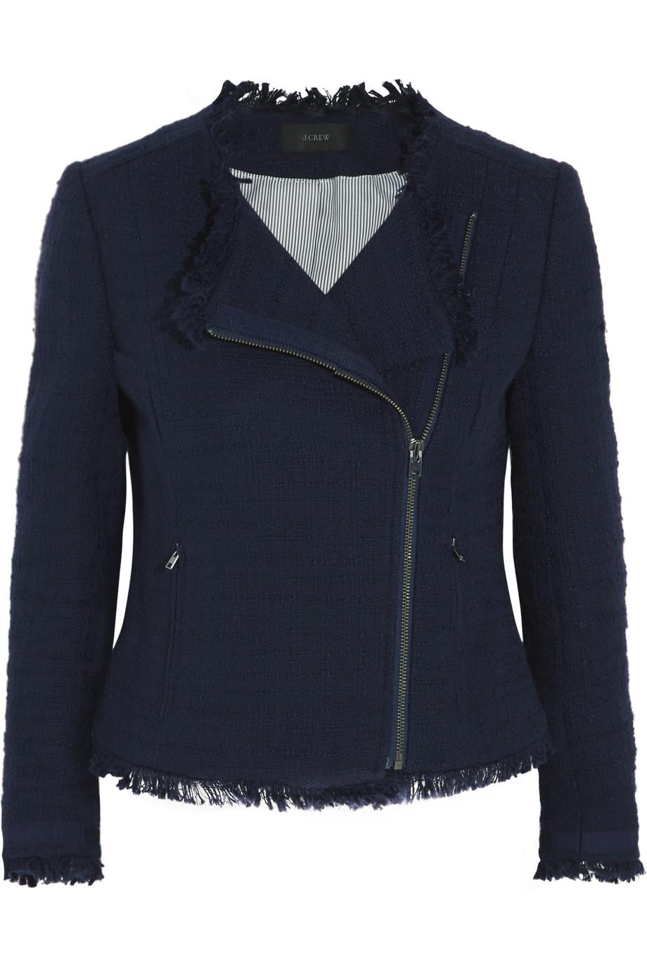 J.Crew Fringed Cotton-Blend Tweed Jacket, Navy, Women's, Size: 0