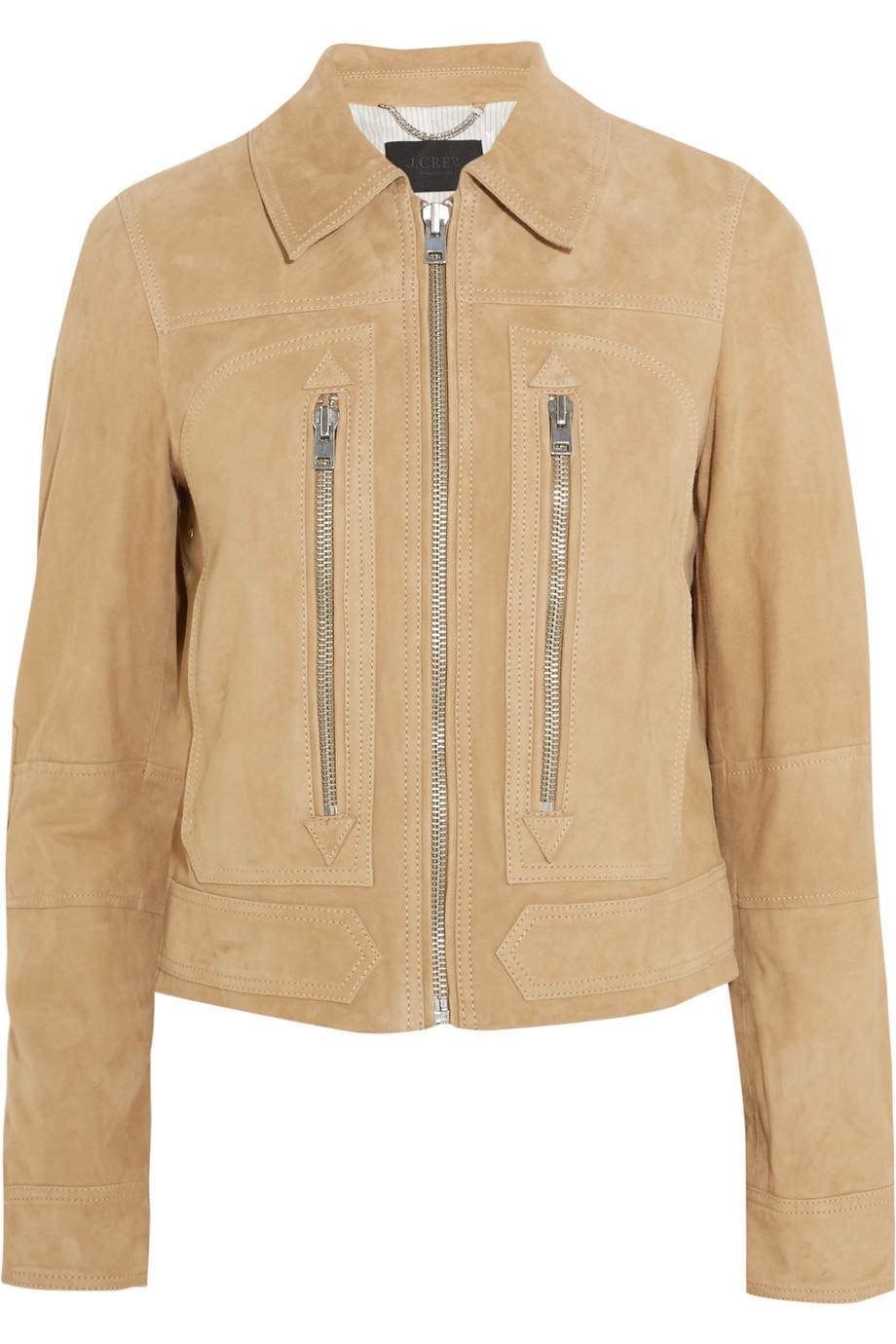 J.Crew Collection Suede Biker Jacket, Camel, Women's, Size: 0