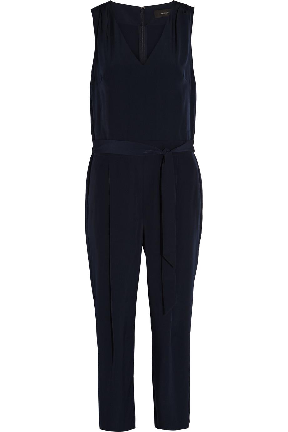 J.Crew Waterloo Satin Jumpsuit, Navy, Women's, Size: 2