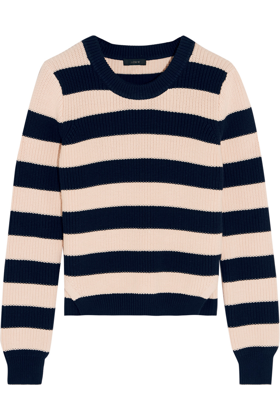 J.Crew Collection Striped Cotton Sweater, Midnight Blue/Peach, Women's