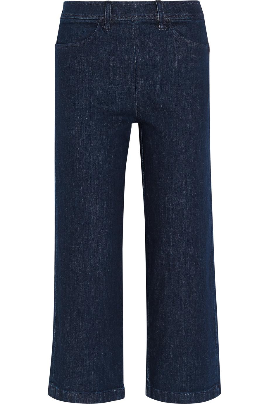 J.Crew Rayner Cropped High-Rise Wide-Leg Jeans, Dark Denim, Women's, Size: 24