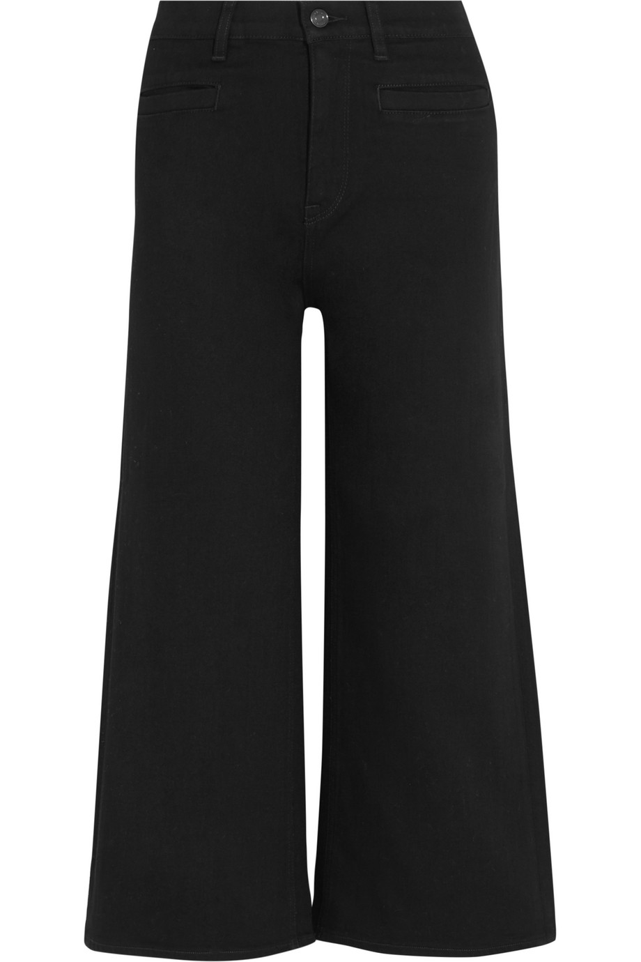 J.Crew Rayner Cropped High-Rise Wide-Leg Jeans, Black, Women's, Size: 28