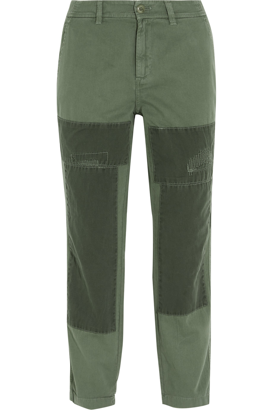 J.Crew Sunday Patchwork Cotton-Twill Straight-Leg Pants, Army Green, Women's, Size: 0
