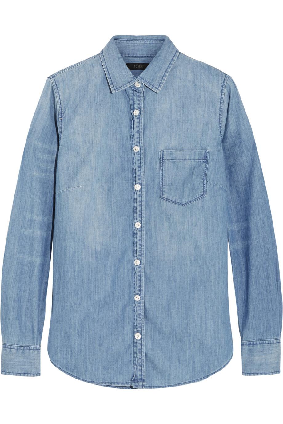 J.Crew Always Cotton-Chambray Shirt, Light Blue, Women's, Size: 8