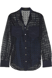 Silk-paneled crocheted lace shirt