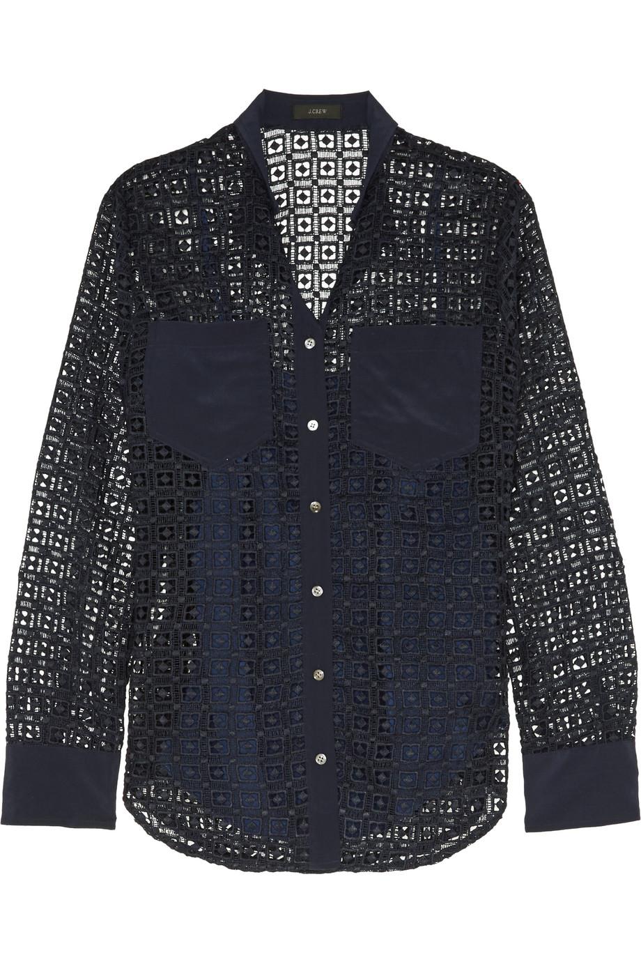 J.Crew Silk-Paneled Crocheted Lace Shirt, Midnight Blue, Women's, Size: 0