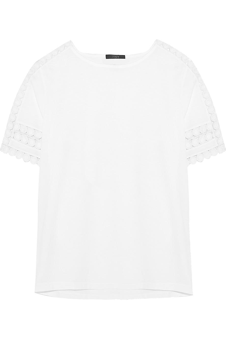 J.Crew Crochet-Paneled Cotton-Jersey T-Shirt, White, Women's