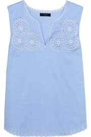 Broderie anglaise cotton-poplin top