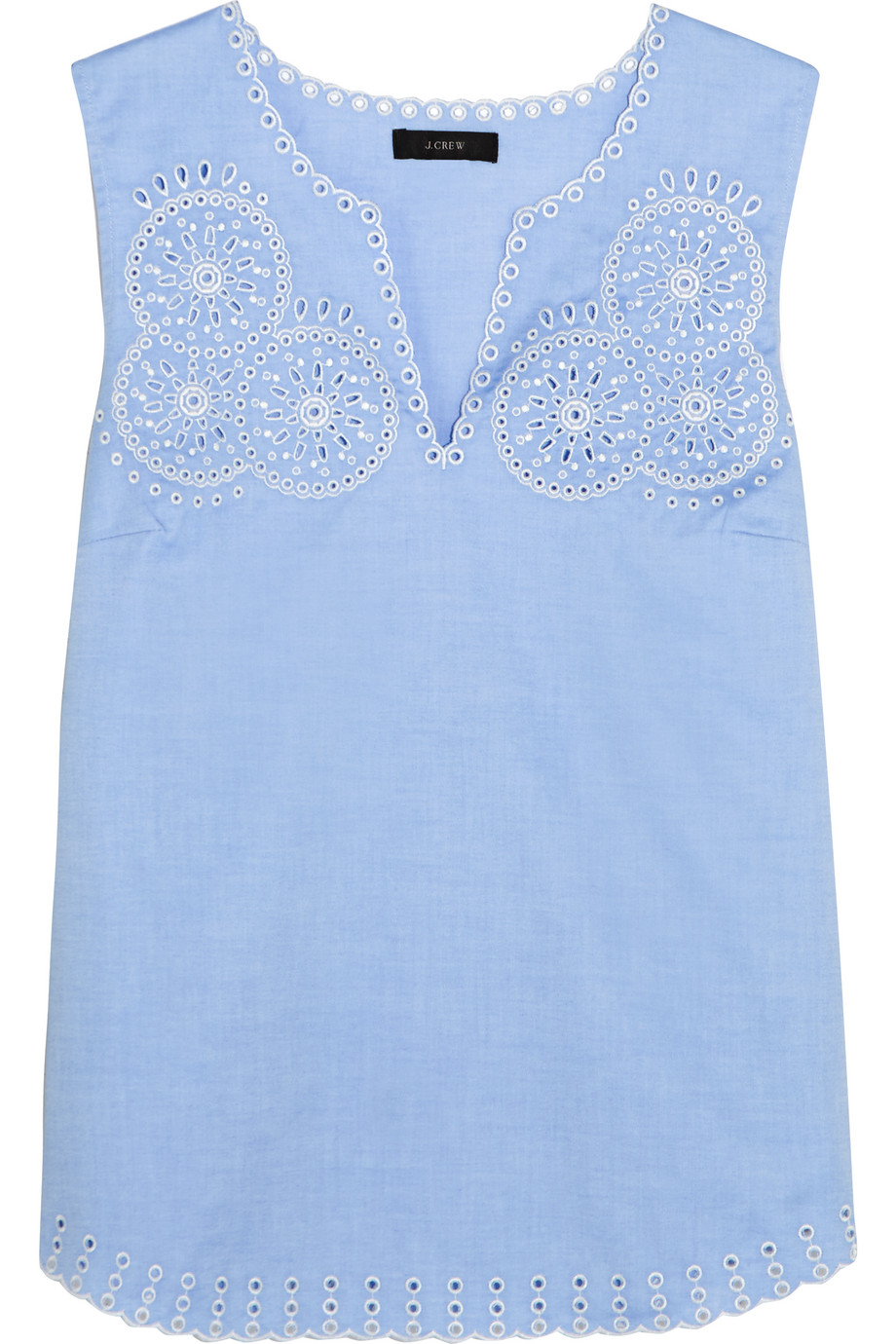 J.Crew Broderie Anglaise Cotton-Poplin Top, Light Blue, Women's, Size: 6