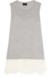 Collection feather-trimmed cashmere and silk tank