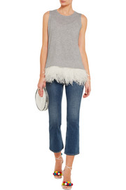 J.Crew Collection feather-trimmed cashmere and silk tank