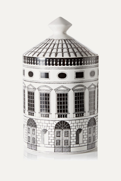 FORNASETTI Architettura Thyme, Lavender And Cedarwood Scented Candle, 300G in White