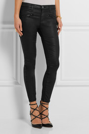 Current/Elliott The Soho coated low-rise skinny jeans