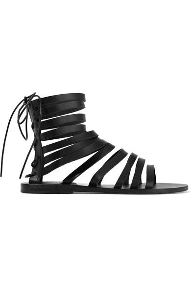 Ancient Greek Sandals - Galatia Leather Sandals - Black