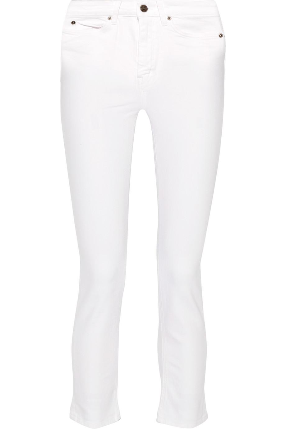 Niki Cropped Mid-Rise Skinny Jeans, White, Women's, Size: 24
