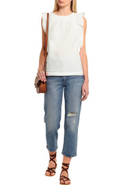 MiH Jeans Caval ruffled crinkled cotton-poplin top